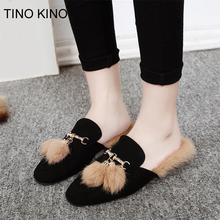 Women Slipper Warm Plush Fur Chain Slippers Woman 2019 Mules Ladies Furry Slippers Slip on Fashion Slippers Rabbit Hair