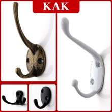 Gancho Vintage para colgar en la pared de aleación de Zinc de KAK, Perchero de tela de bronce, bolsa, sombrero, ganchos para baño o cocina, percheros Anitque con tornillos