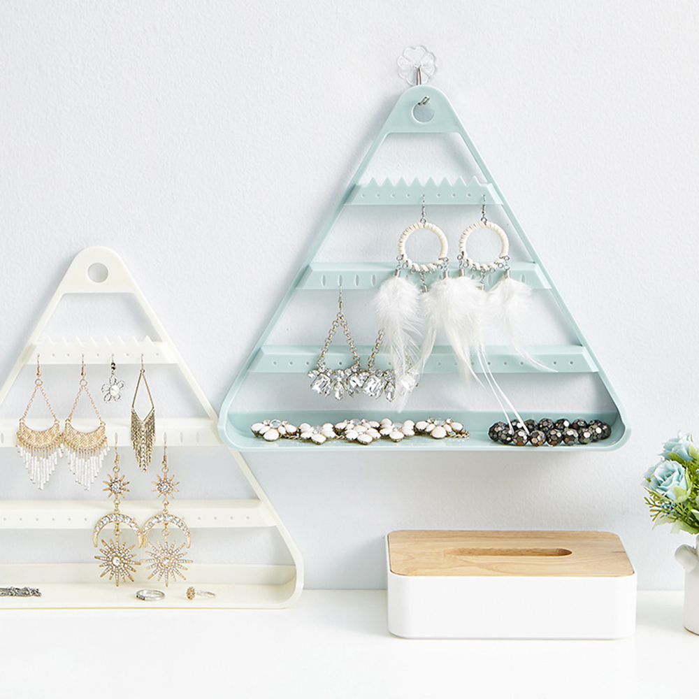 Triangle Hanging Stand Earrings Ear Studs Organizer Necklace Display Storage Rack Jewelry Box Hold Organizers Jewelry Shelf