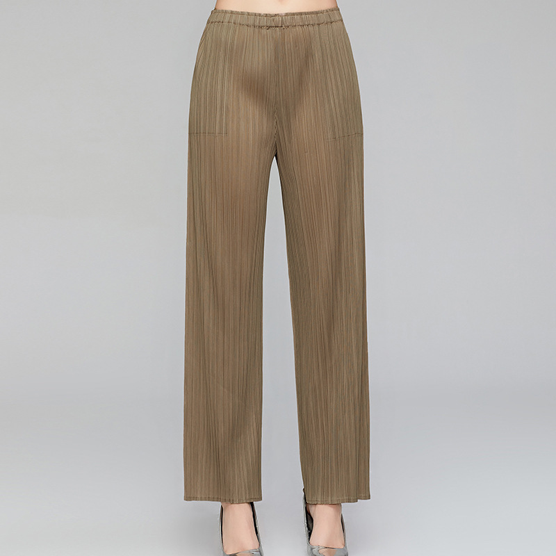 LANMREM 2020 New Fashion Elastic Waist Solid Color Pleated Pants Women Casual All-match Loose Simple Straight Trousers PD586