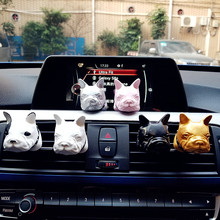 Hot French bulldog Automobile Outlet Perfume Clip Diamond Air Conditioner Mouth Clamp Upscale Car Perfume Fragrance Decoration(China)