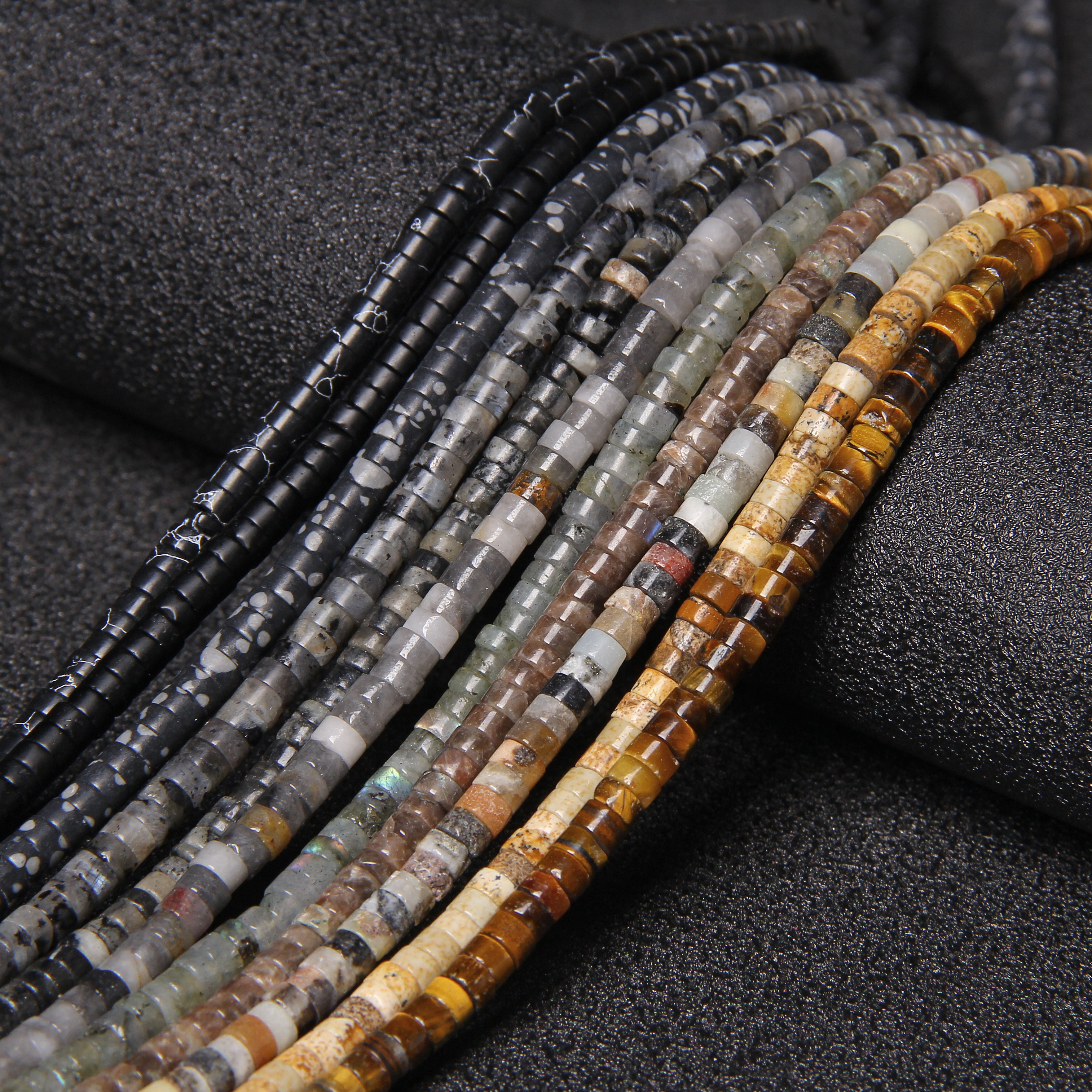 2x4mm High Quality Natural Labradorite Spacer Stone Beads Round Polished Tiger Eye Agat Loose Beads Fit Jewelry Making Supplies