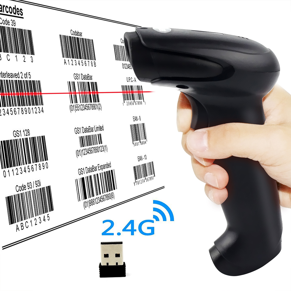 1D Laser Handheld 2.4G Wireless USB Barcode Scanner Wireless Connections with 16MB Storage Memory