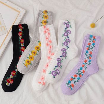 Women Socks Cotton Flowers Ladies Warm Cute New Fashion Hot Kawaii Korean Japanese Dropshipping 2020 Best Selling Products