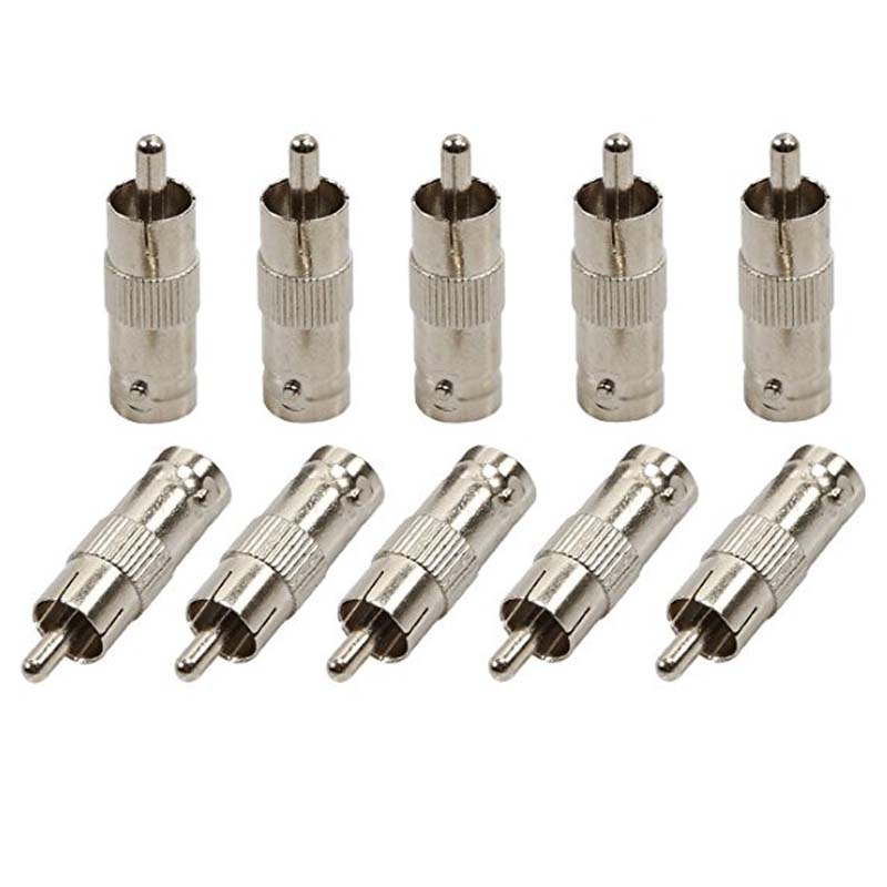 10PCS 2PCS BNC Female Jack To RCA Male Plug Adapter Straight Connector For CCTV Security Camera