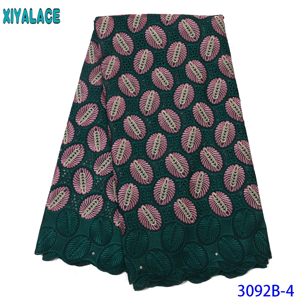 Green Cotton African Laces Fabric 2019 High Quality Lace French Voile Embroidery Lace Fabric For Dress 5Yards KS3092B