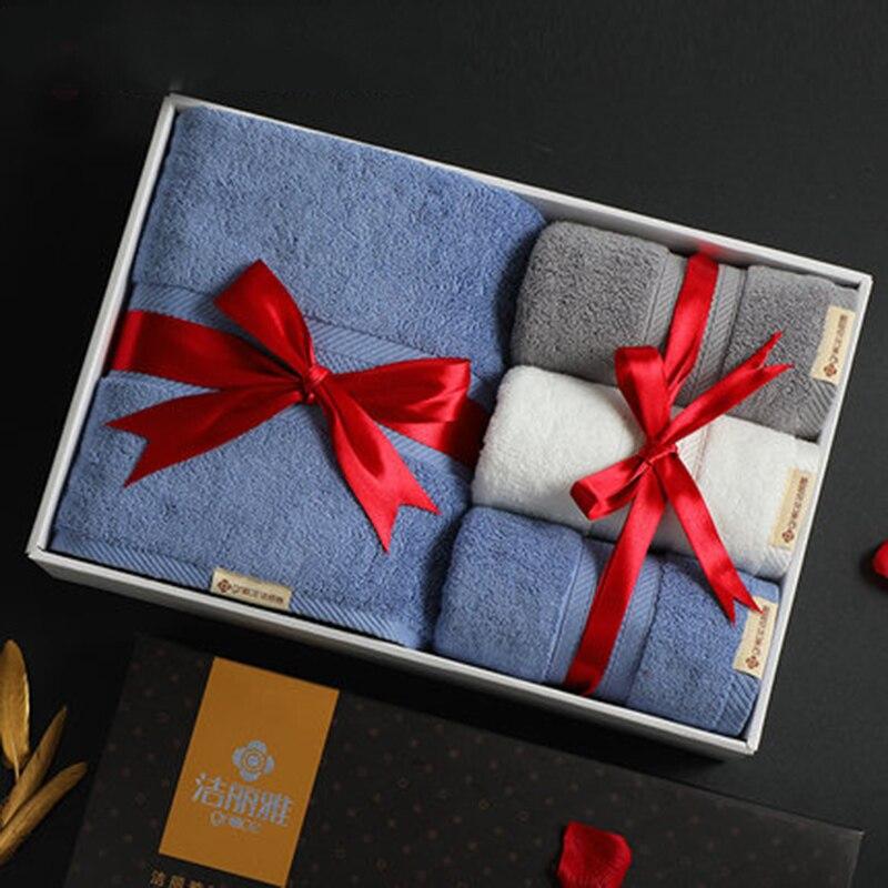 Luxe coton serviette de bain cadeau boîte 4 pièces ensemble affaires absorbant tissu mariage cadeau ensemble noël serviette enroulée en gros 6MM95