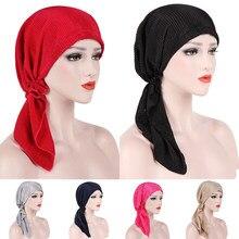 Bonnet de couleur unie pour femmes, Bandana, Hijab, Turban musulman, foulard à volants, chapeau de chimio, foulard de tête, casquette de nuit, tendance