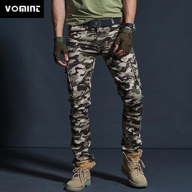 Vômito Estilo Militar dos homens Carga Calças Dos Homens Impermeável Respirável Calças Masculinas Corredores Exército Bolsos Das Calças Casuais Plus Size