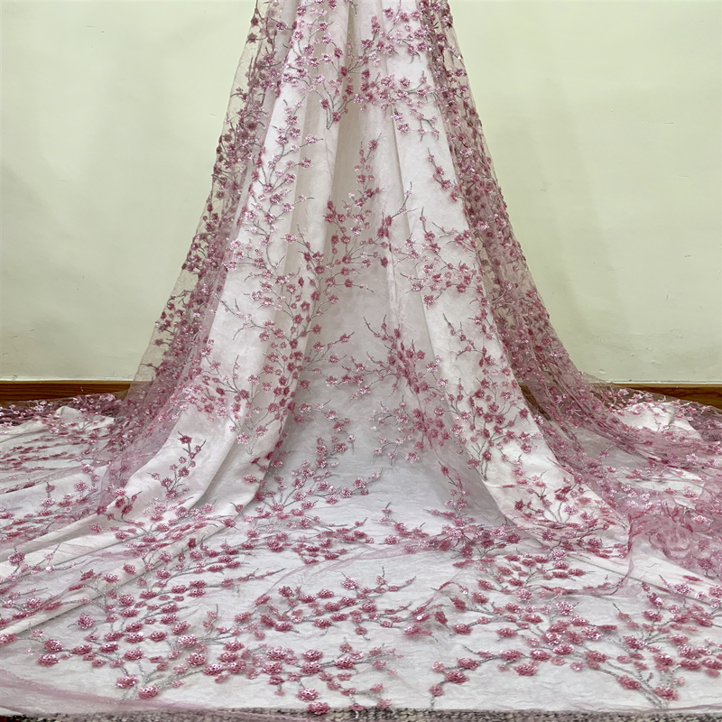 Latest Pink African 3D Flower Sequins Lace Fabric 2019 High Quality Nigerian Wedding Tulle Lace Fabric For African Women Bridal
