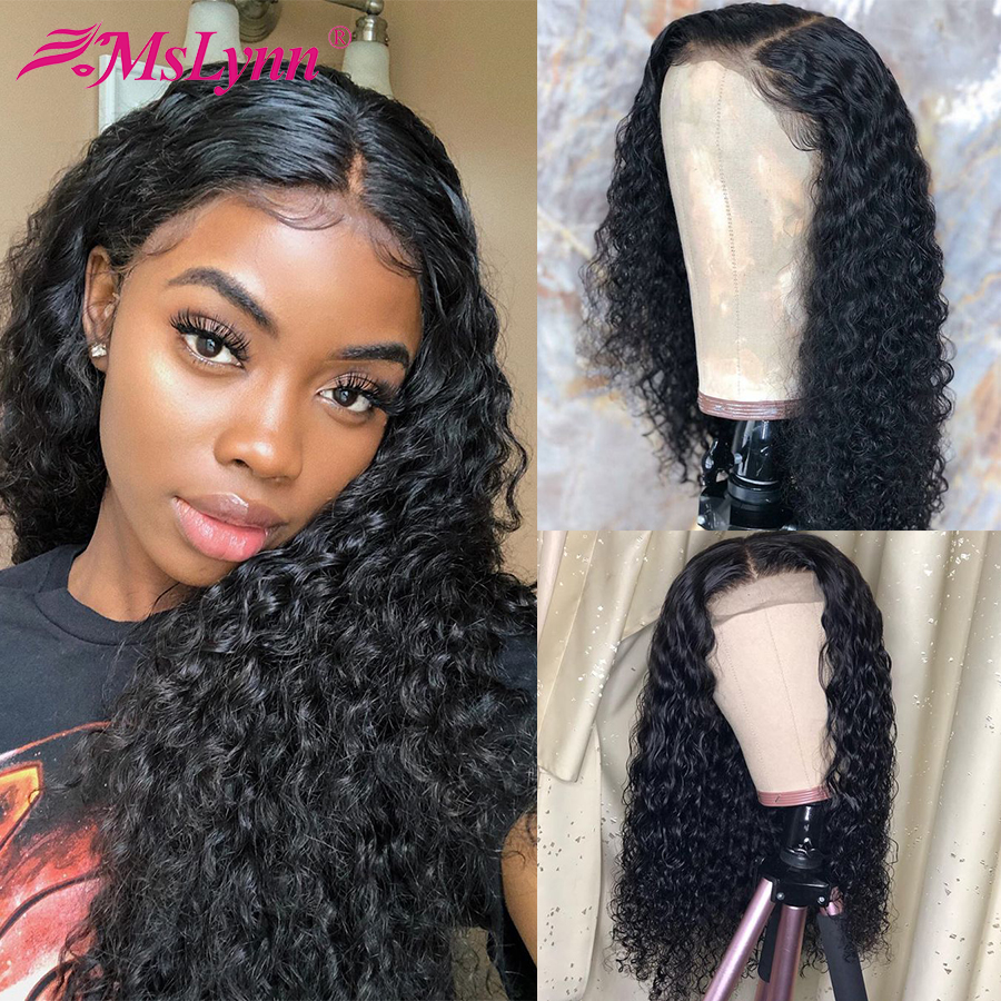 Lace Front Human Hair Wigs Water Wave Lace Front Wig Pre Plucked With Baby Hair T Part Wig Mslynn Remy Human Hair Wigs For Women