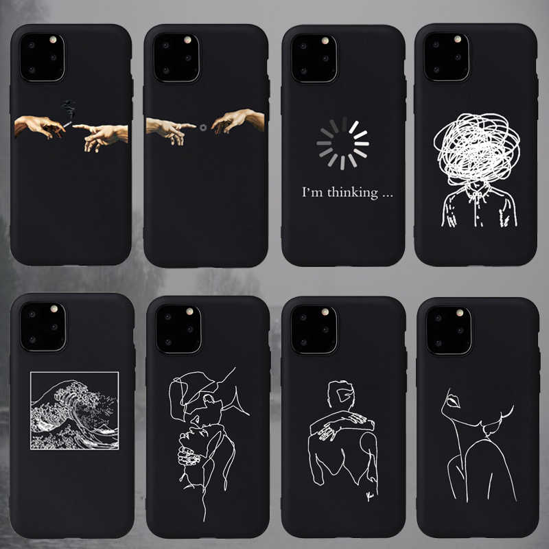 Fashion Soft TPU Pretty Girl Lisa Art David lines Painted Phone Case Coque Fundas For iPhone 6S 5s 7 8Plus X XS 11 Pro Max Cases