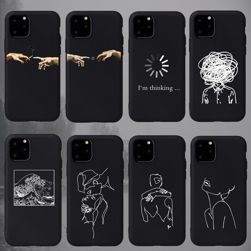 Fashion Soft TPU Pretty Girl Lisa Art David lines Painted Phone Case Coque Fundas For iPhone 6S 5s 7 8Plus X XS 11 Pro Max Cases(China)