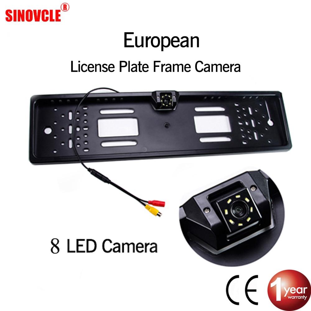 Камера заднего вида SINOVCLE для автомобилей, водонепроницаемая камера с функцией ночного видения в рамке под номерной знак стандарта ЕС, с подсветкой из 4 или 8 светодиодов|Камера для авто|   | АлиЭкспресс