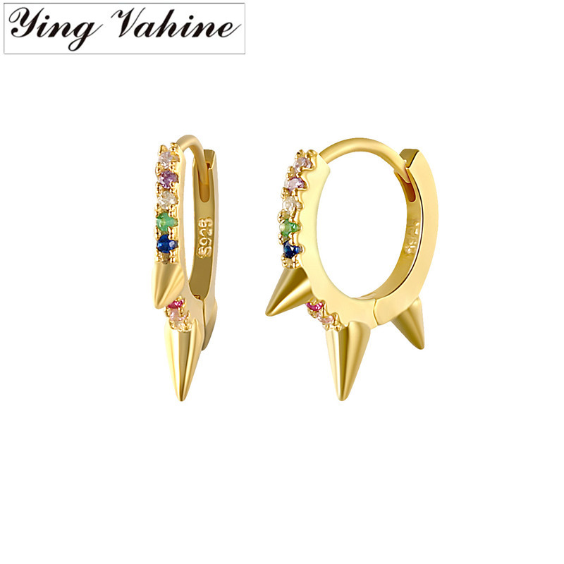 ying Vahine 100% 925 Sterling Silver Colored Zircons Rivets Stud Earrings for Women