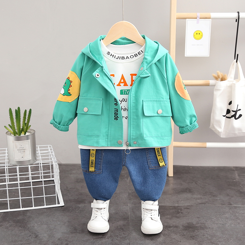 Autumn Kid <font><b>Baby</b></font> Boys Clothing Jacket <font><b>Set</b></font> Hooded Cartoon Clothes Zip Coat <font><b>Tshirt</b></font> Trousers 3PCS Casual Kids Outfits 1 2 3 4 Years image