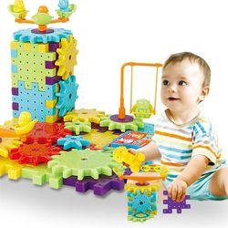 81 pçs engrenagens elétricas 3d modelo kits de construção blocos de tijolo plástico brinquedos educativos para crianças presentes