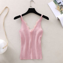 Mode Vrouwen Satijn Zijde Kant Zomer Tank Tops Dames Solid Lace Vest Blouse Casual Lady V-hals Mouwloze Bandjes Vest Shirt(China)