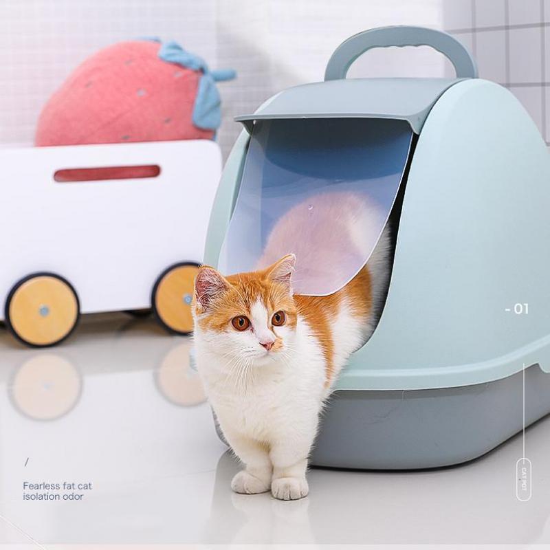 Fully Closed Cat Toilet Litter Basin Cat Litter Basin Deodorization, Anti-splash, Anti-stink Cat Supplies Large Cat Litter Basin