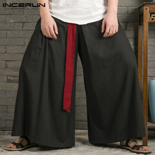 Baggy Trousers Belt Leg-Pants Pantalon Joggers Hanfu INCERUN Chinese-Style Vintage Men