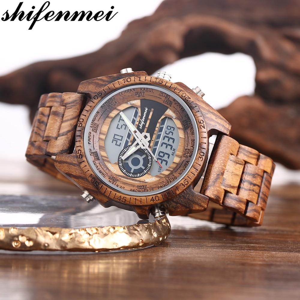 Watch Men 2019 Wood Watch Sport Quartz Mens Watches Top Brand Luxury LED Digital Clock Wooden