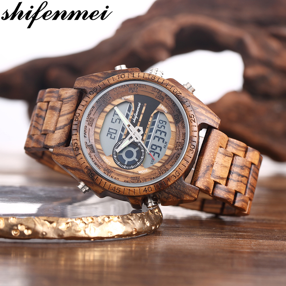 Watches Men 2019 Digital Watch Sport Chronograph Clock Wooden Men Watch Top Brand Luxury Wood Male Wristwatch Relogio Masculino