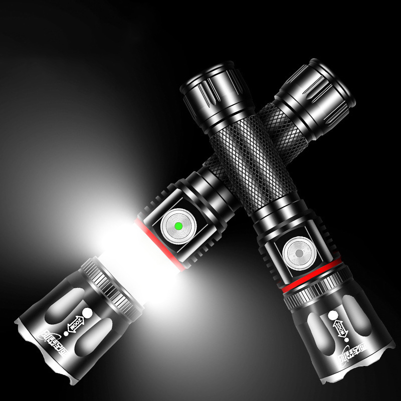 XANES T6 200W Flashlight 4 Modes USB Rechargeable Stretch Zoomable Life Waterproof COB Work Lamp Camping Lantern Magnet Torch