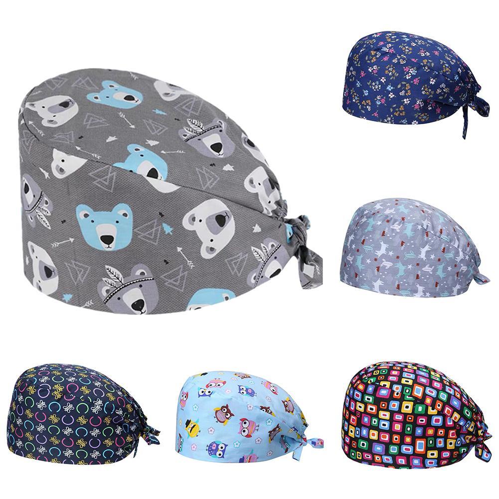 Unisex Bear Leaf Floral Cotton Adjustable Nurse Surgical-Scrub Cap Bouffant Hat Stop The Flying Spit For Summer