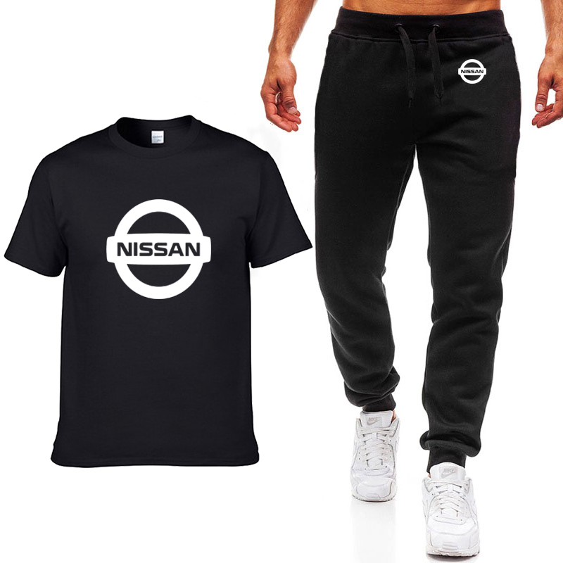 Fashion Summer Men T Shirts Nissan Car Logo Print HipHop Casual Cotton Short Sleeve High Quality T-shirt Pants Suit Men Clothing