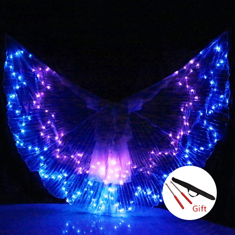 Women Belly Dance LED Wings Colorful LED ISIS Wings Adult Bellydance Professional Accessory Belly Dancing LED Wings With Sticks