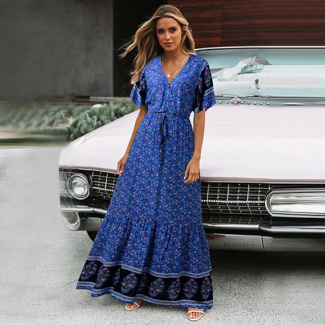 Women Ethnic Custom Print Long Maxi Dresses Summer Lace Up Floral Butterfly Sleeve Boho Tea Dress V Neck Party Beach Dress