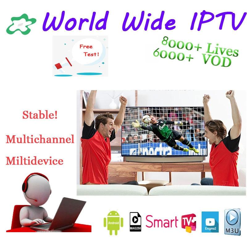 World IPTV Subscription 8000 Live Adult Channels UK France Arabic German Brazil Poland Portugal Arabic Android Ssmart TV M3U MA9