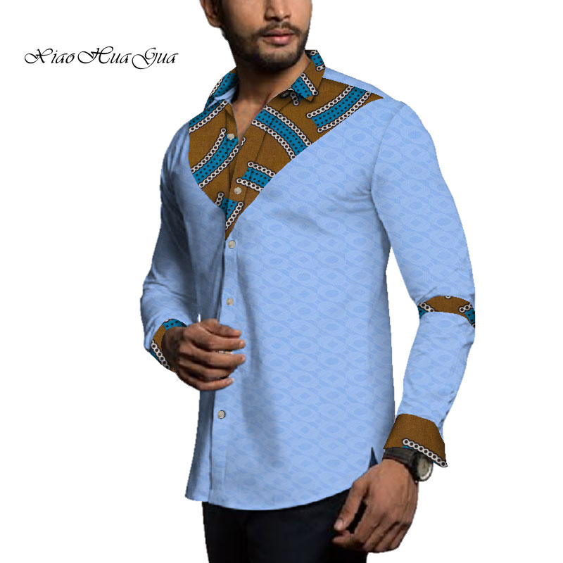 2020 African Shirt Men Long Sleeve Shirt Patchwork Dashiki Tops Men African Print Shirt  Africen Men Office Shits Clothes WYN651