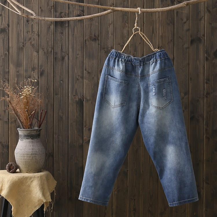 Женские рваные джинсы шаровары с карманами и эластичной резинкой на талии, винтажные синие джинсы для девочек, джинсовые штаны с цветочной вышивкой