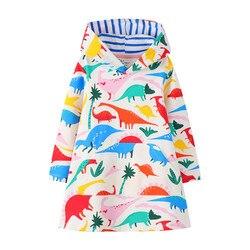 Jumping metros nova chegada meninas vestidos com capuz com animais imprimir moda algodão dinossauros meninas outono inverno vestido crianças pano