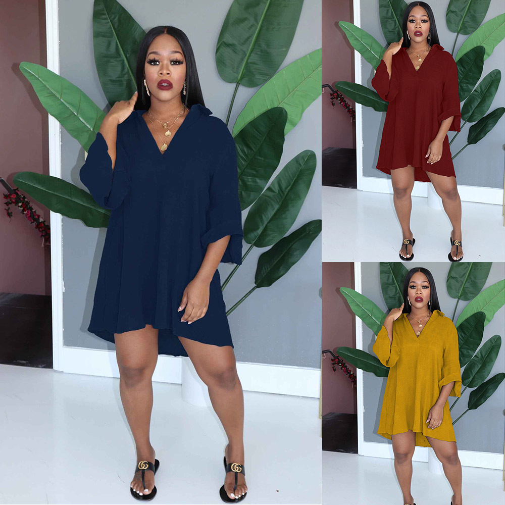 2021new women's casual fashion medium sleeve solid color V-neck dress Free shipping