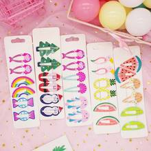 44 colors girls hair accessories cartoon pineapple rainbow fruit hairpin set candy color cute clip fashion daily headwear