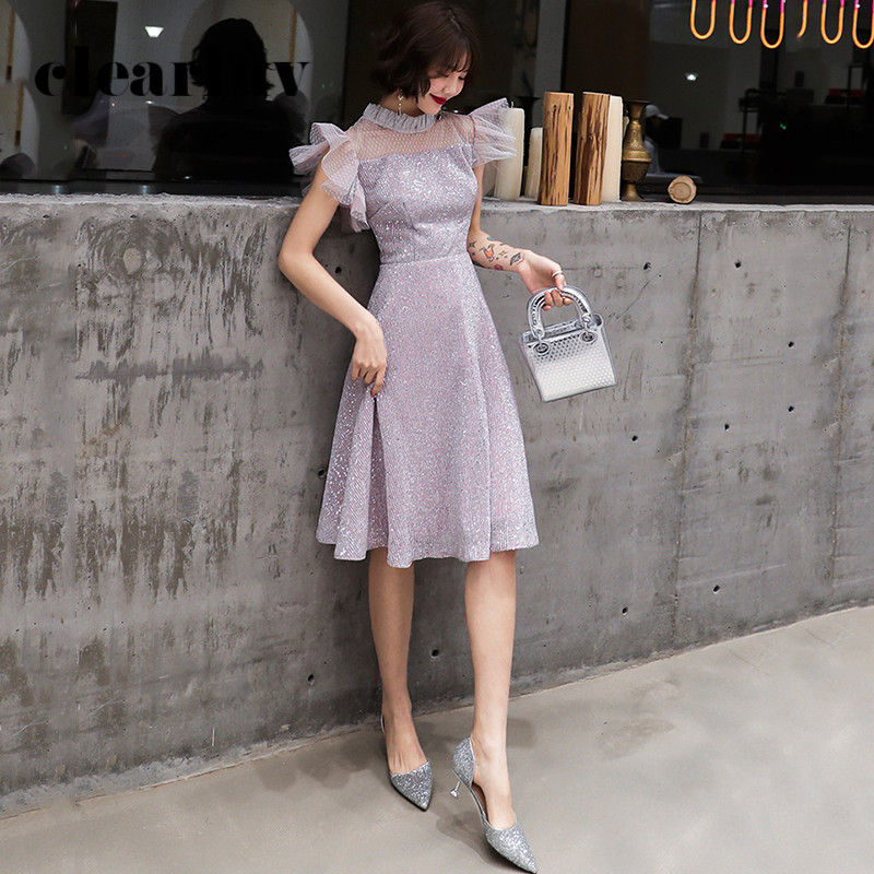 Patchwork A-Line Women Party Dresses DR355 Ruched Short Sleeve Prom Dress High Collar Elegant Vestidos Sequined Formal Gowns