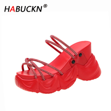HABUCKN 2020 Summer Chunky Sandals Women Wedge High Heels Shoes Female Buckle Platform Casual Summer Rhinestones Slippers Sandal