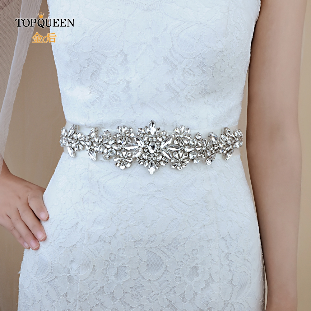 TOPQUEEN S325 FREE SHIPPING Crystal Wedding Belts Rhinestone Beaded  Bridal Belt Wedding Accessories For Evening Party Dress