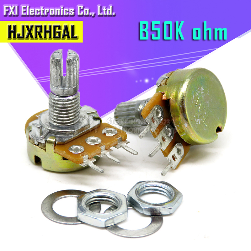 5PCS 50K Ohm WH148 B50K 3pin  Potentiometer 15mm Shaft With Nuts And Washers Hot