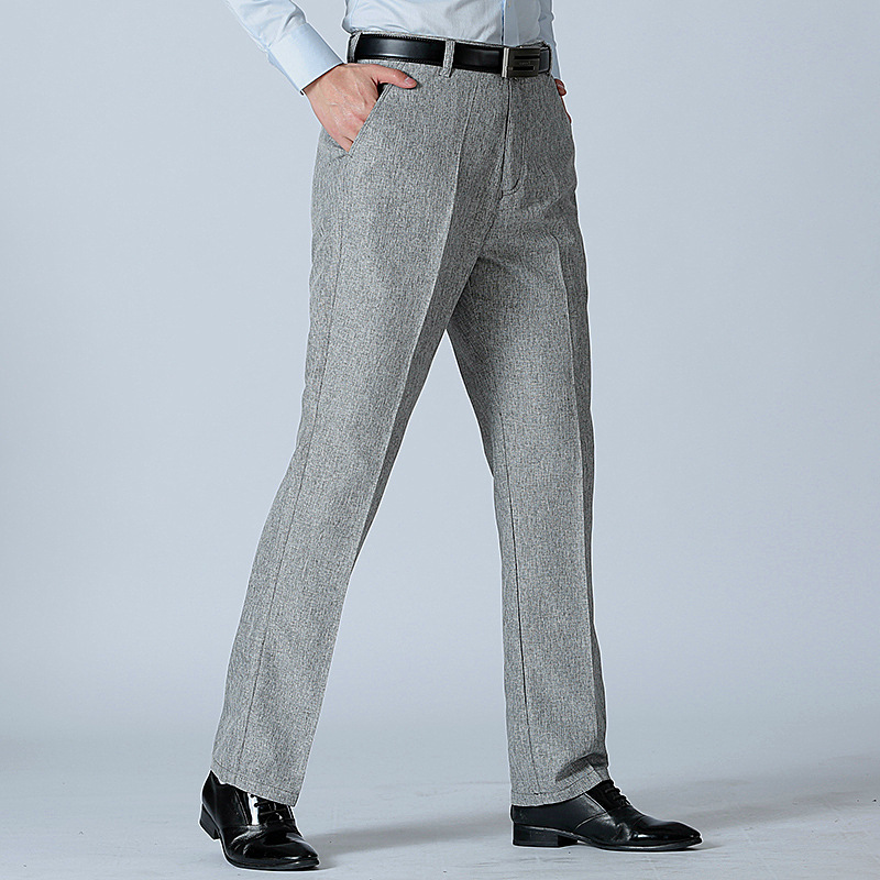 2020 Men's Casual Loose Straight Cotton And Linen Trousers Summer Thin Non-Ironing Business Casual Breathable Trousers