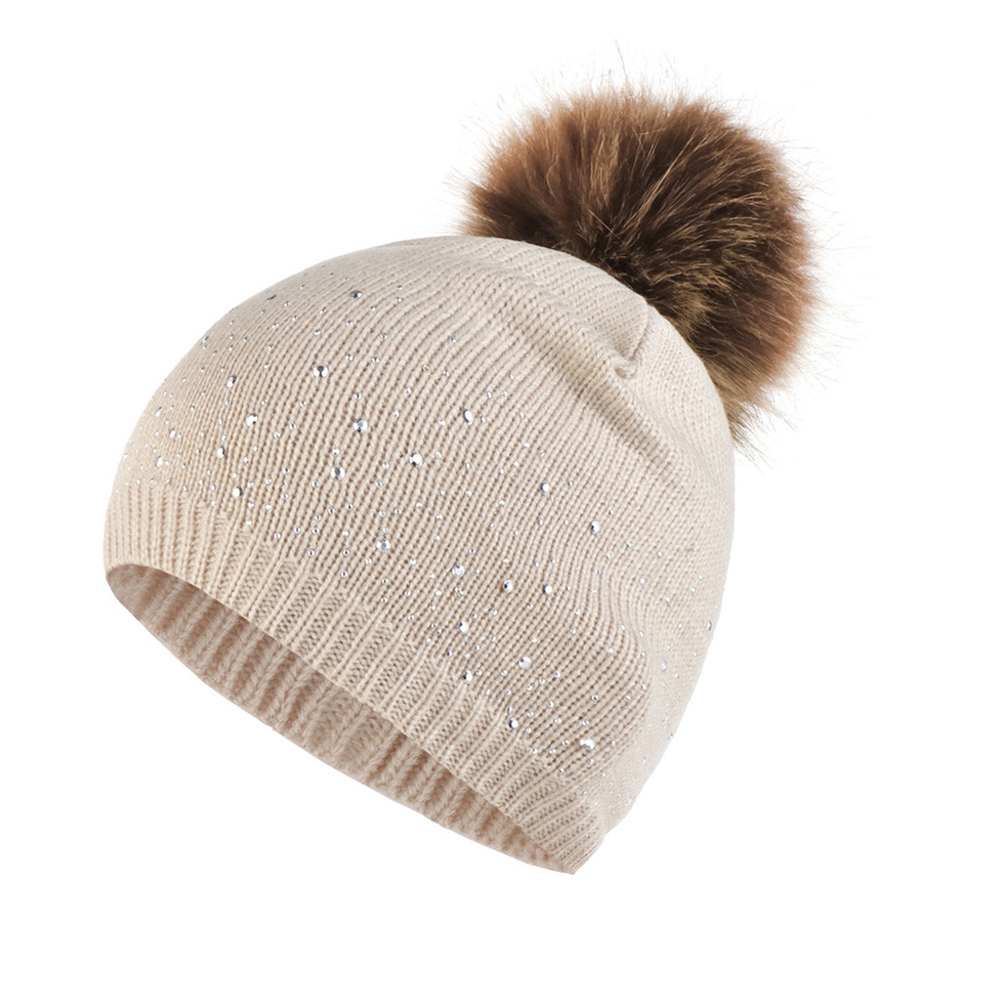 Women Elastic Hemming Rhinestone Studded Daily Outdoor Windproof Warm Gifts Plush Ball Fashion Knitted Hat Casual Autumn Winter