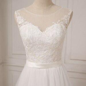 Image 5 - Jiayigong זול תחרה חתונה שמלת O צוואר טול Applique Boho חוף כלה שמלת כלה בוהמית שמלות Robe De Mariage