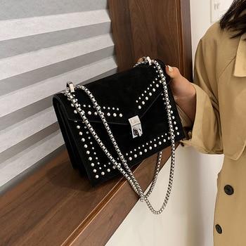 2019 Vintage Leather Crossbody Bags For Women Travel Handbag Chain Fashion Rivet Lock Small Shoulder Messenger Bags Femal
