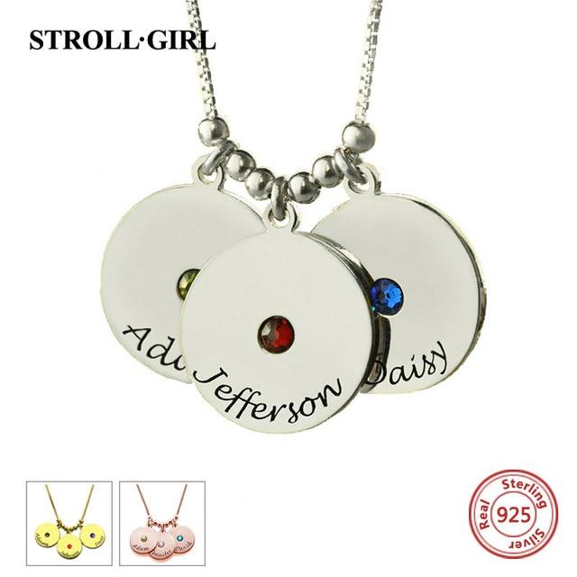 StrollGirl 100% 925 Sterling srebrny personlaizowane matki płyty i Birthstone Charm naszyjniki i wisiorki Sterling Silver biżuteria