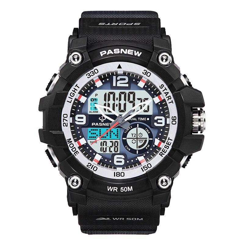 Часы наручные Pasnew мужские кварцевые с силиконовым ремешком, Брендовые спортивные модные с двойным дисплеем Спортивные часы    АлиЭкспресс
