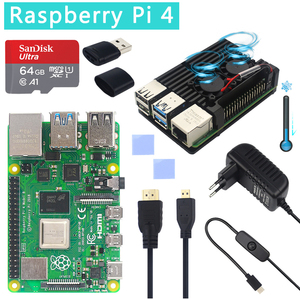 Image 5 - מקורי רשמי פטל Pi 4 דגם B ערכות הכפול מאוורר אלומיניום מקרה + 32/64 GB SD כרטיס + מתאם מתח + HDMI כבל עבור RPI 4