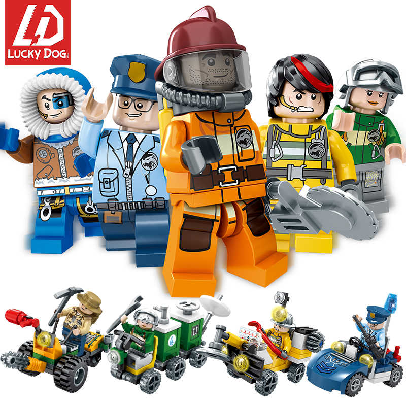 Cute Blocks Figures Fire Truck Policemen Compatible with LeogINGly City Bricks Educational Toys for Children