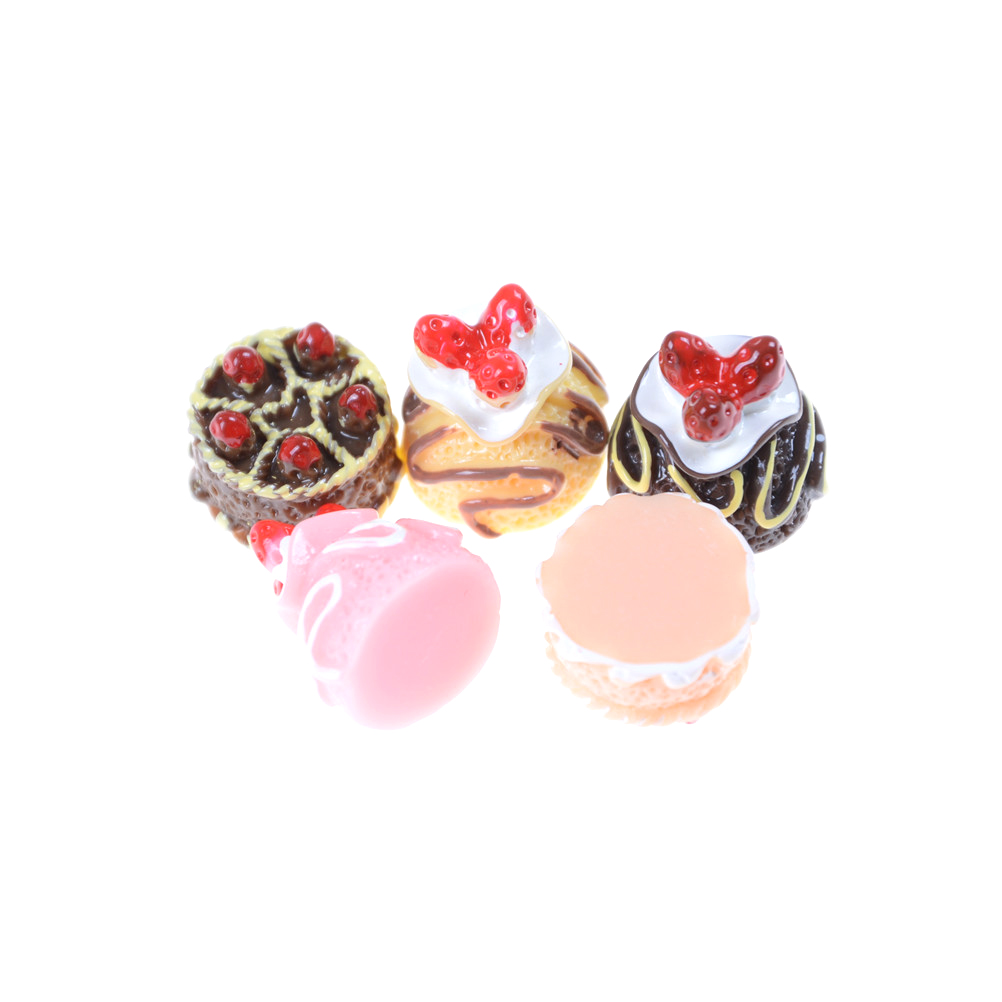 5pcs/lot Lovely Mini Cakes 1:12 Baby Doll Home Kitchen Toys Girl Scene Model Pastry Bauble Dollhouse Kitchen Toy Accessories